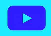 A turquoise and blue knockoff of the YouTube logo.