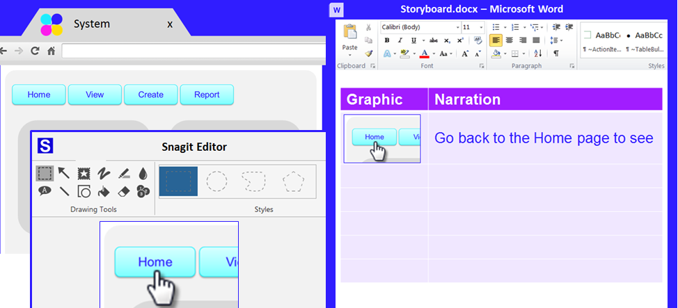 I like Word on the right and my content and Snagit on the left.