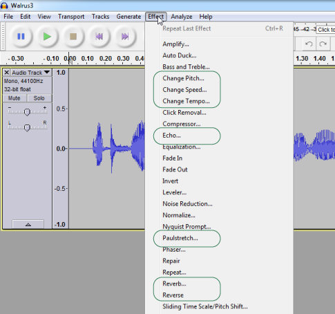 I chose several effects from Audacity's effects menu.