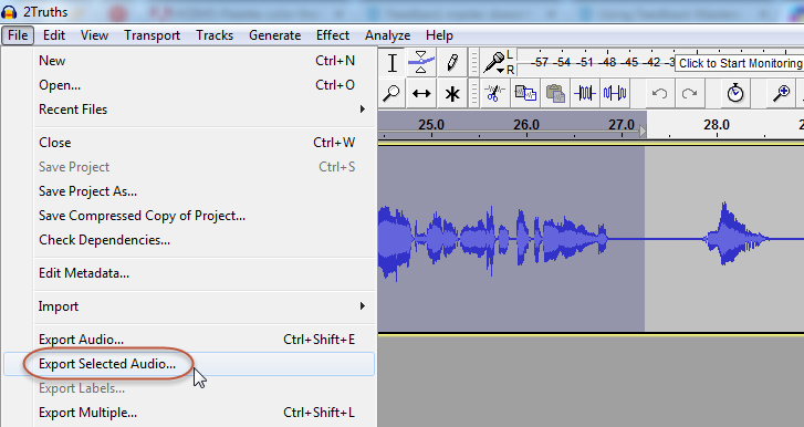Select the chunk of audio, then use the Export Selected Audio option.