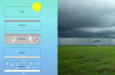 Creative Buttons: a screenshot of the slide of weather buttons