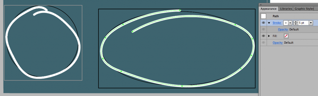 A 5pt white circle and oval in Illustrator.