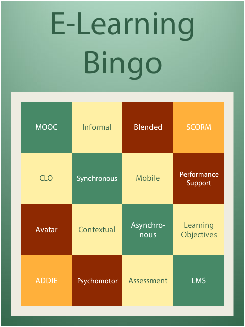 A slightly interactive eLearning bingo card.