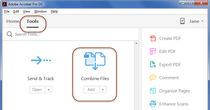 To combine files in Acrobat, choose Tools, then Combine Files.