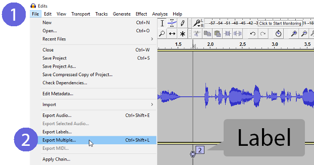 File > Export Multiple in Audacity is a quick way to save many project .MP3 files at once.