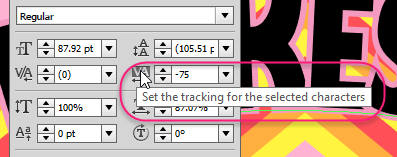 Tracking controls the spacing between all selected characters.