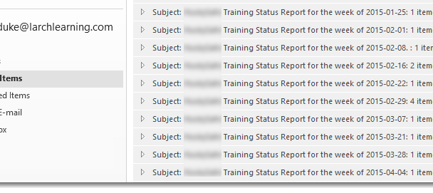 A list of Sent Items, showing my weekly status reports' subject lines.