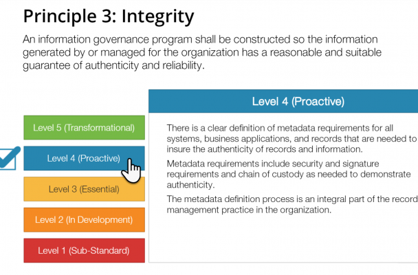 Screenshot of the Information Governance Maturity Evaluator I created for records managers.
