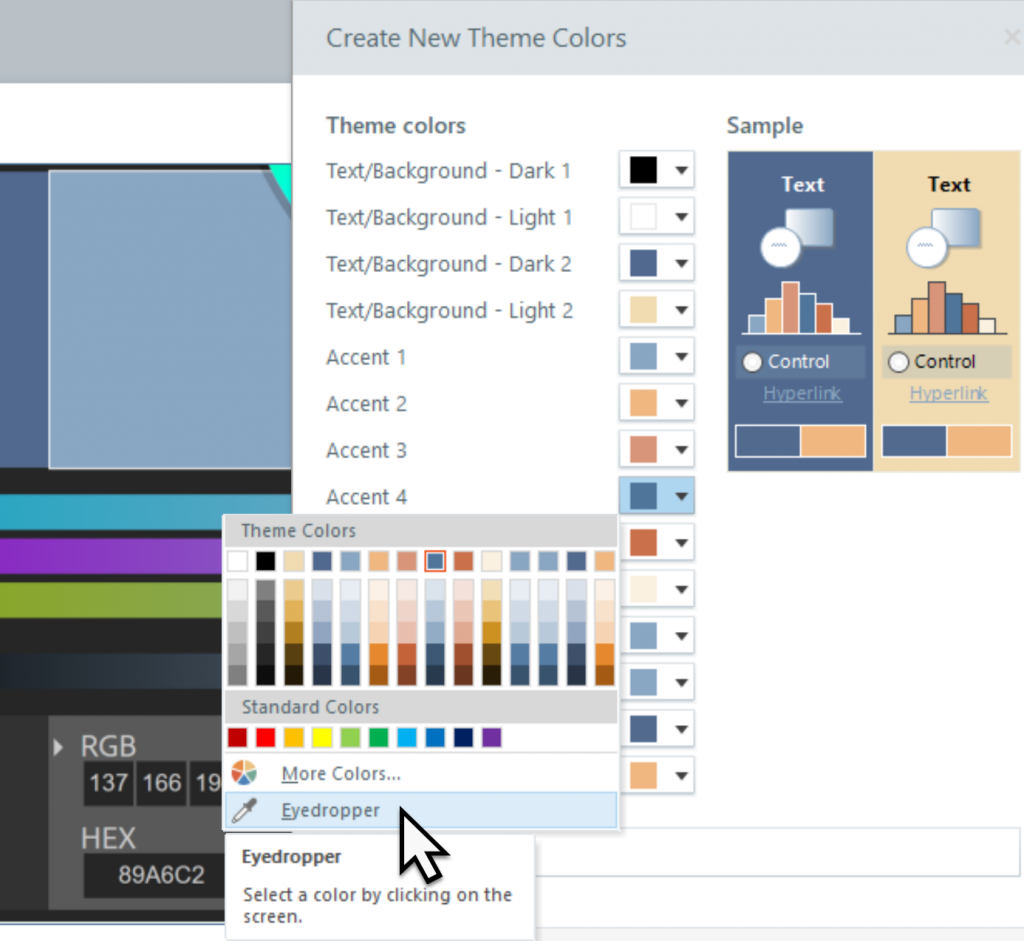 The Eyedropper tool is chosen from Accent 4 in the Create New Theme Colors dialog.