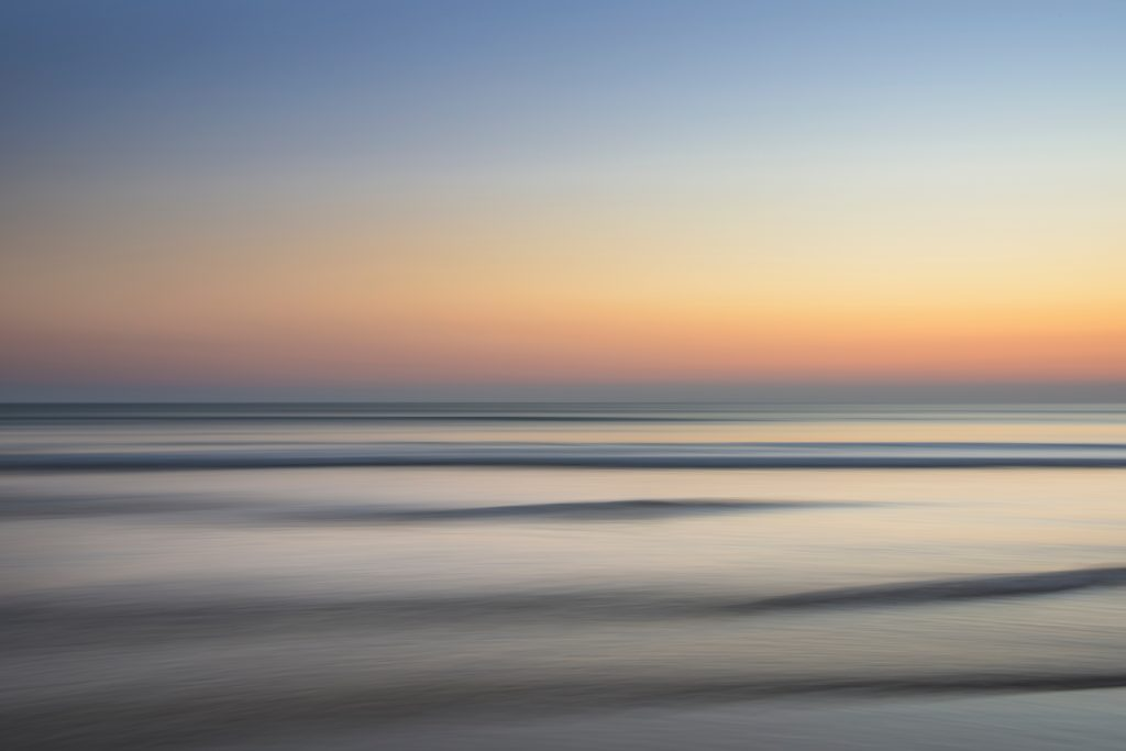 Soft waves at sunset