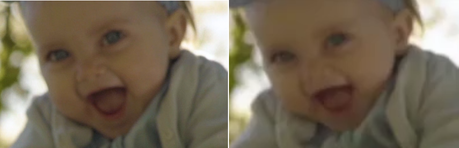 The baby on the left is 100%. The baby on the right is just a wee bit squished because the video was not resized proportionally.
