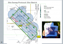 The slide shows a photograph of a person handling documents and a site sketch that is larger than the previous version. The video placeholder has been removed.