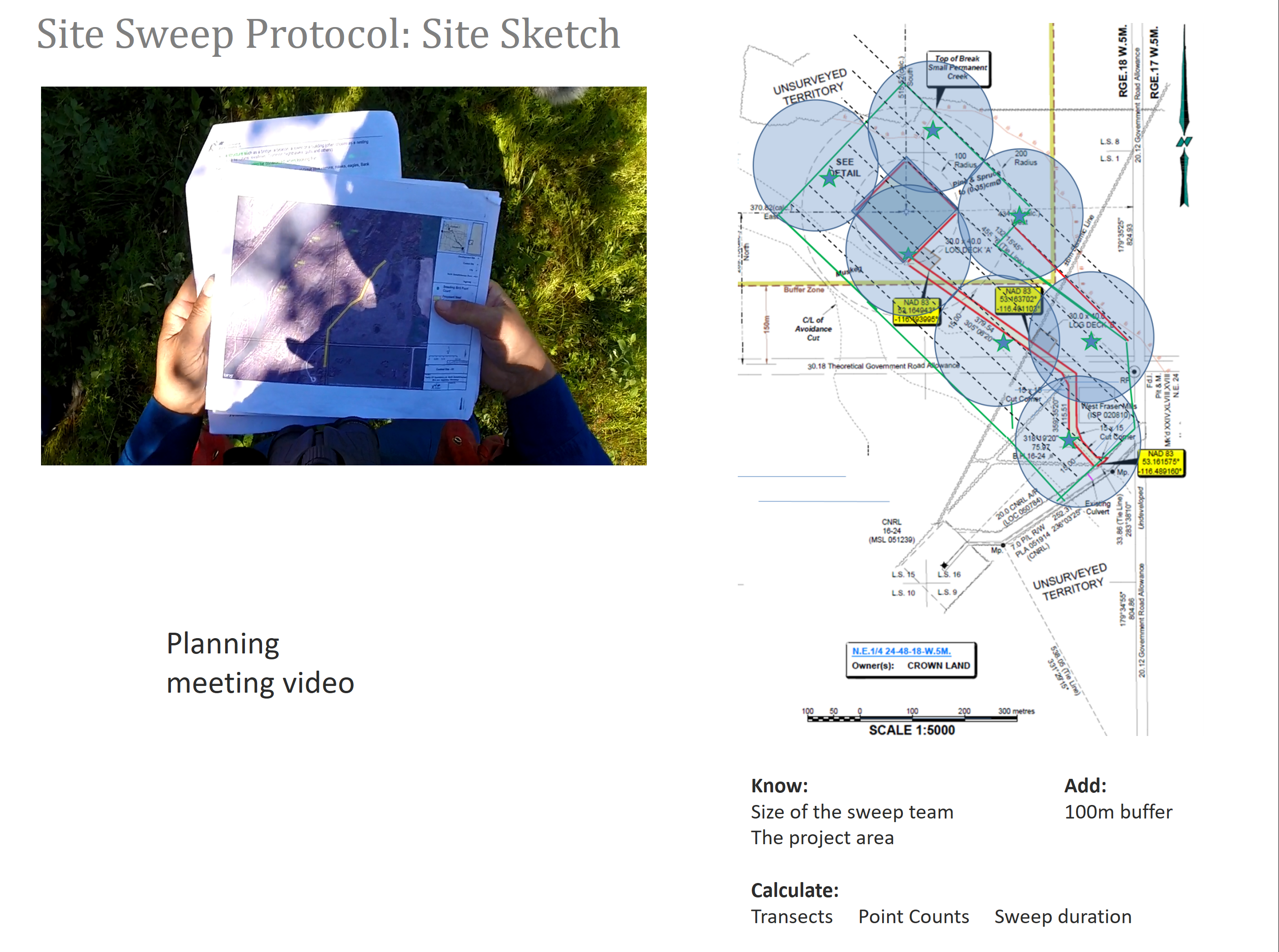 The slide shows a photograph of a person handling documents, a site sketch and a video placeholder all on one slide.